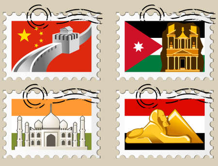 Postmarks - sights of the world series - Asia Stock Vector - 3161233