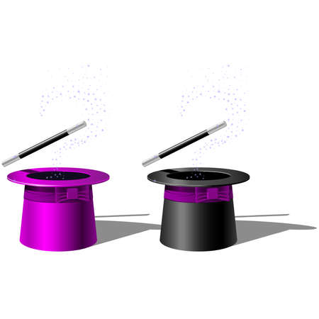 Magician top hat and Magic Wand with stars