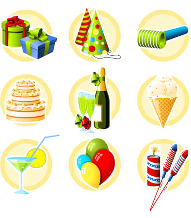 Birthday and celebration objects icon set Vector