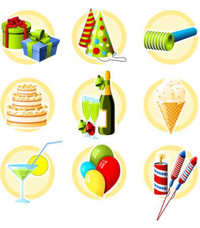 Birthday and celebration objects icon set Illustration
