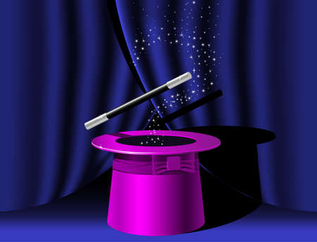 conjuring: Magician top hat and Magic Wand with stars