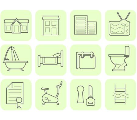 gym room: Inmobiliaria y comodidades icono conjunto