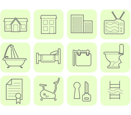 Real Estate and amenities icon set  Illustration