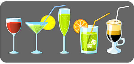 Set of five different glasses with drinks Vector