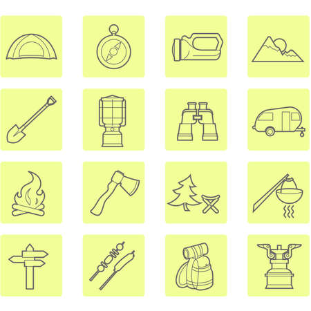 Camping equipment and outdoor travel icons set Vector