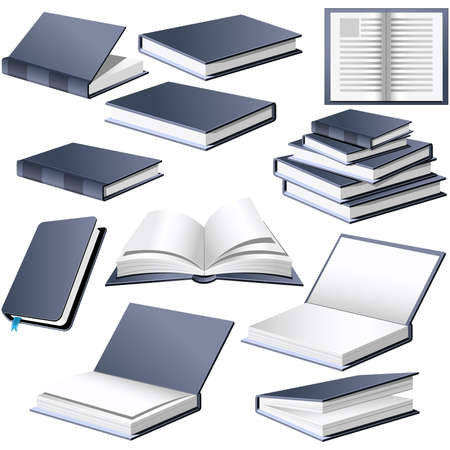 Books in different positions and styles Stock Vector - 3386755