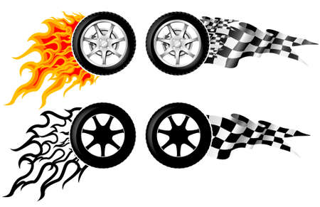 chrome wheels: Sports Race Emblems - third set Illustration
