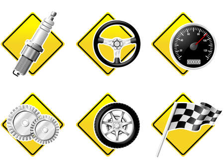 Automobile and Racing icons - part two Stock Vector - 3587467
