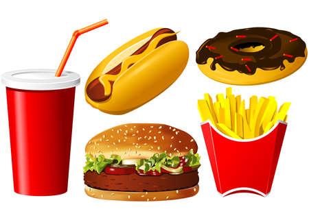 prepared potato: Fast food icon set