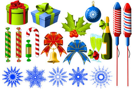 Group of christmas and New Year symbols Vector