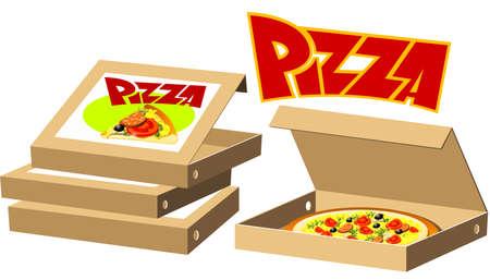 mozzarelle e formaggi: Food serie - pizza box Vettoriali