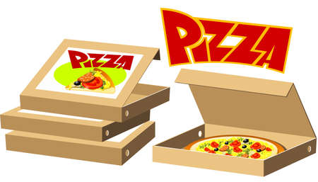opened: Food series - pizza box Illustration