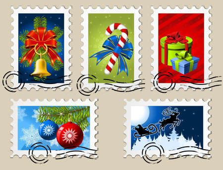 Five Festive Christmas and New Year Stamps Vector