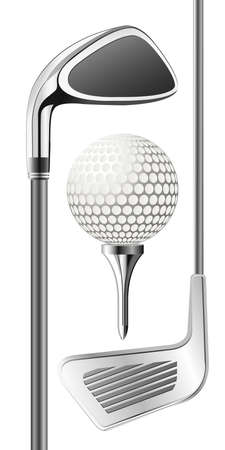 steel balls: Golf club and ball on tee Illustration