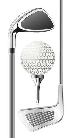 golfclub: Golfclub en de bal op de tee Stock Illustratie