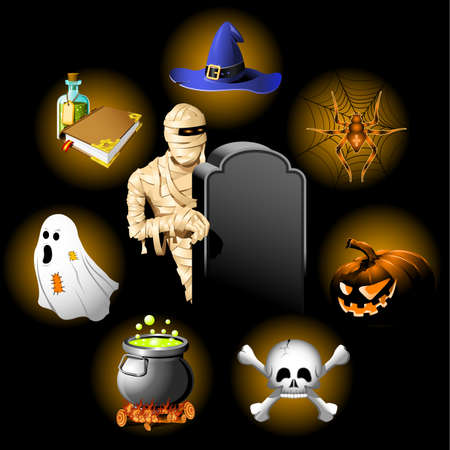 spectre: Halloween icons set Illustration