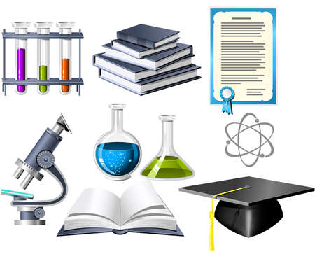 Science and education icons Stock Vector - 5390590