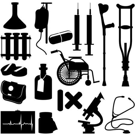 Health Icons - silhouette of medical equipment Vector