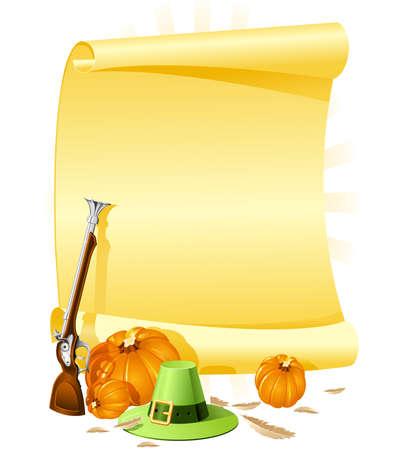 musket: Blank thanksgiving banquet invitation Illustration