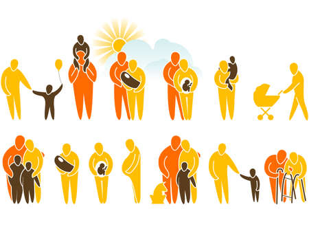 Family simple silhouette icons representing family and relationships Vector