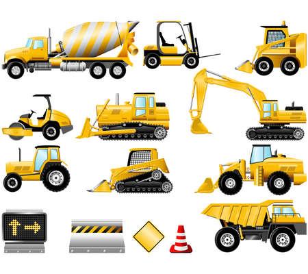 建設: 建設機械のアイコンは白で隔離されます。  イラスト・ベクター素材