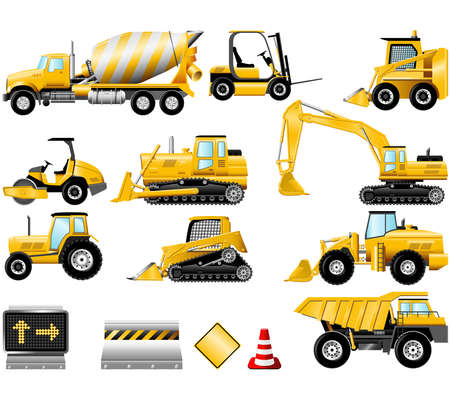 earth mover: Construction Machinery icons isolated on the white