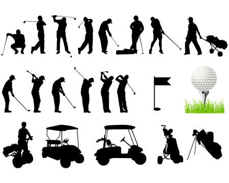 hit: Silhouettes of Men playing golf Illustration
