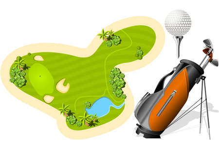 Putting Green, Golf Bag and ball Illustration