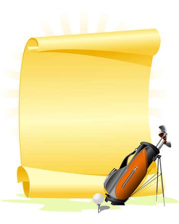 Blank golf invitation with golf bag and ball Illustration