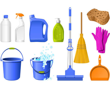 Domestic Tools for cleaning on the white Vector