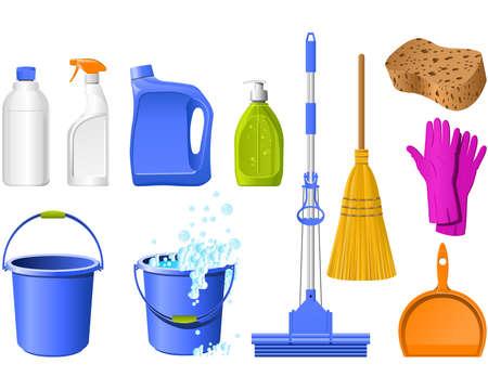 detersivi: Strumenti nazionali per la pulizia sul bianco Vettoriali