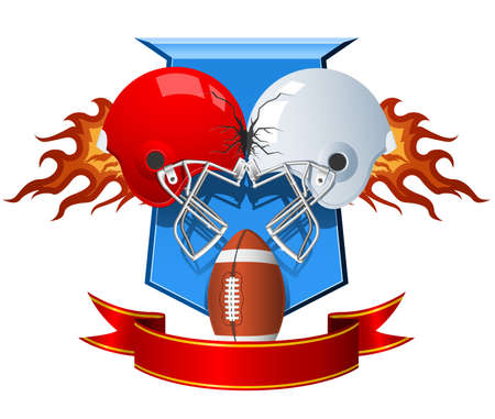 Two clashing sport Helmets for American Football  Vector