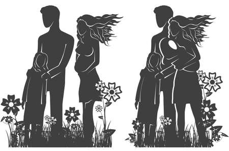 Simple silhouette representing family and relationships Vector