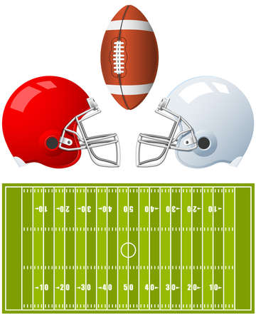 Two sport Helmets and field for American Football  Vector