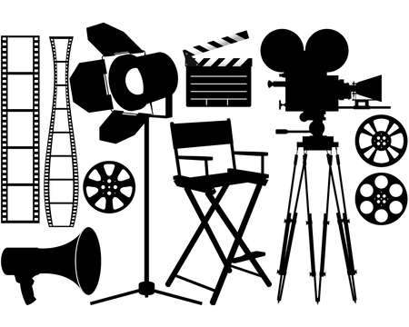Film industrie silhouet pictogrammen op de Wit Stock Illustratie