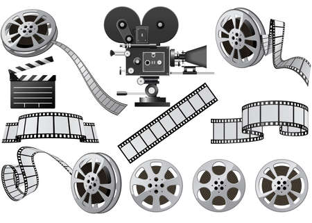 kamera film: Film Industry Attribute - Film, Filmkamera und Film-Slate  Illustration