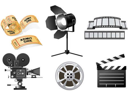 Film Industry attributes - film, movie camera and Film Slate Vector