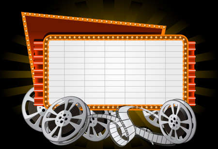 reel: Neon Electronic movie Marquee with film reel