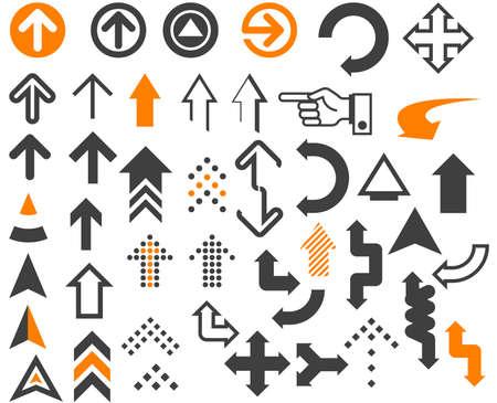 flechas curvas: Arrows en diferentes estilos y formas en el blanco