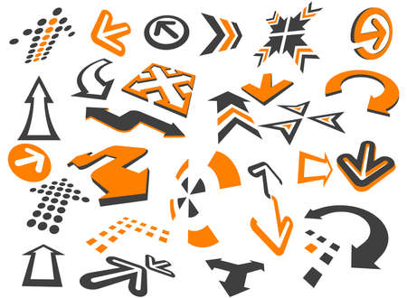 Arrows  in different styles and shapes on the white Vector