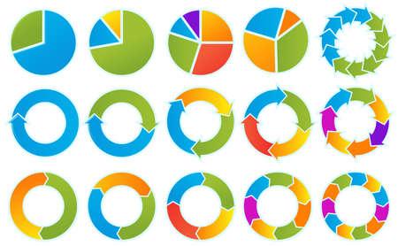 wykres kołowy: Okręgi strzałki  Ilustracja