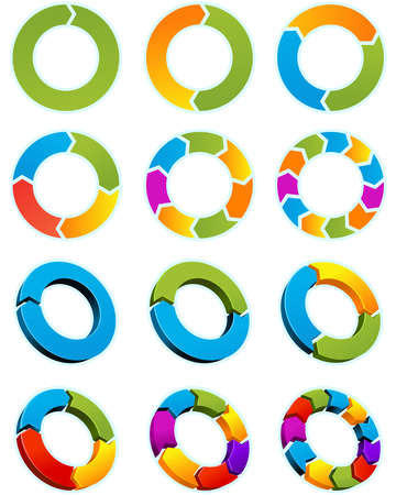 Set of Different arrow circles isolated on the white