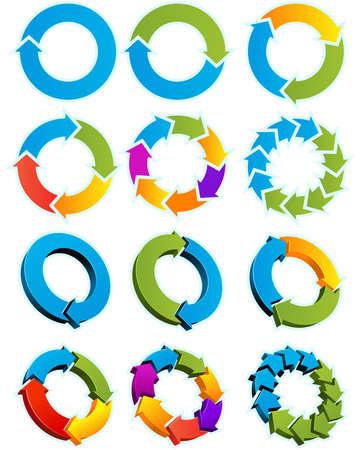 flecha azul: Conjunto de c�rculos de flecha diferentes aislados en el blanco Vectores