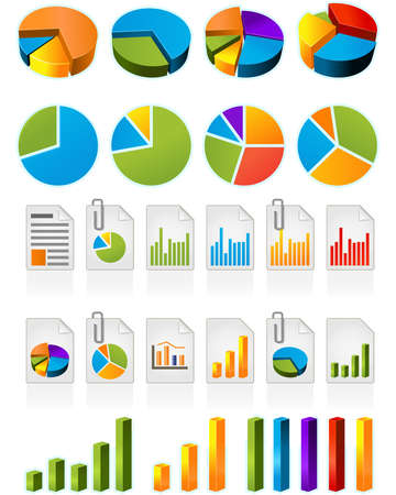 Three-dimensional pie charts and file icons Illustration