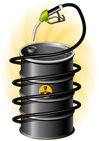 oliedrum: Zwarte van olie drum en brandstof pomp met slang Stock Illustratie