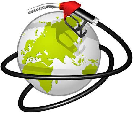 fossil: Terrestrial globe obvoluted Fuel hose Illustration