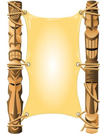maories: Invitaci�n en blanco en el estilo de Hawai con Tiki polos Vectores