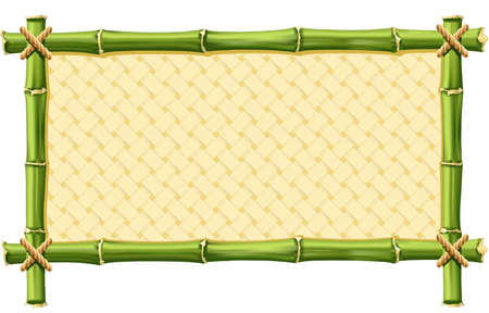 Bamboo frame with Woven isolated on white