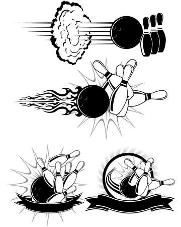 bowling pin: Black And White Bowling clipart styled as emblems