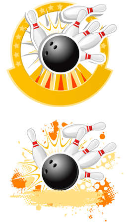 Bowling  emblems  Illustration